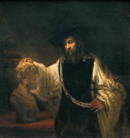 Rembrandt van Rijn - Aristoteles voor de buste van Homerus (1653)