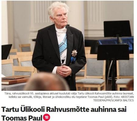 Rahvusmõtte laureaat toomas paul ja EYS referaat