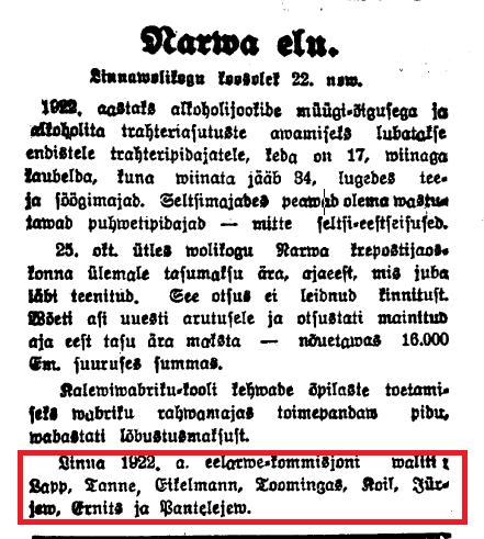westmann narwa uulitsal 1922