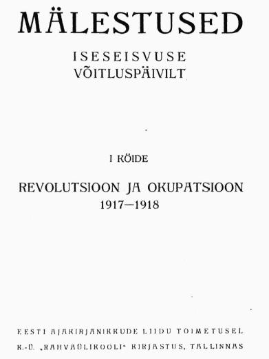 REVOLUTSIOON JA OKUPATSIOON 1918